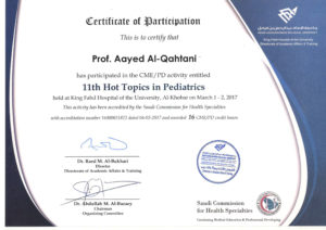 2017 - 11th Hot Topics in Pediatric - IMAM University