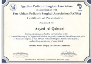 Egyptian Pediatric Surgical Association - PAPSA